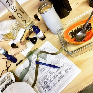 brainstorming session fueled by papaya + masala chai! kit release date + details on our site! #indie #ecosevi #apothecary #veganskincare